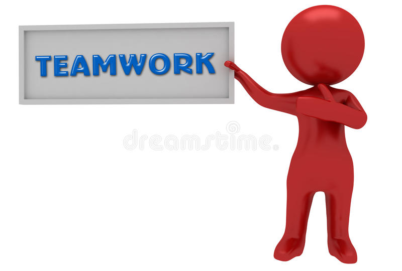 Red character with team work stock illustration