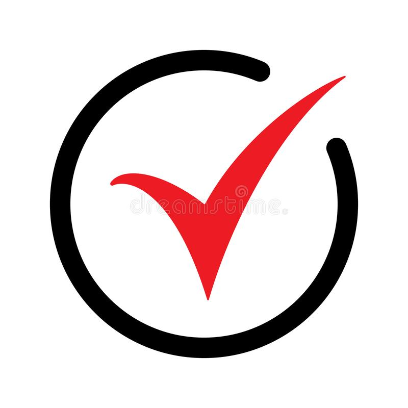 Red check icon. Checkmark vector. Approved symbol. Ok icon. Check button sign. Tick icon. Checkpoint. Best modern flat pictogram royalty free illustration