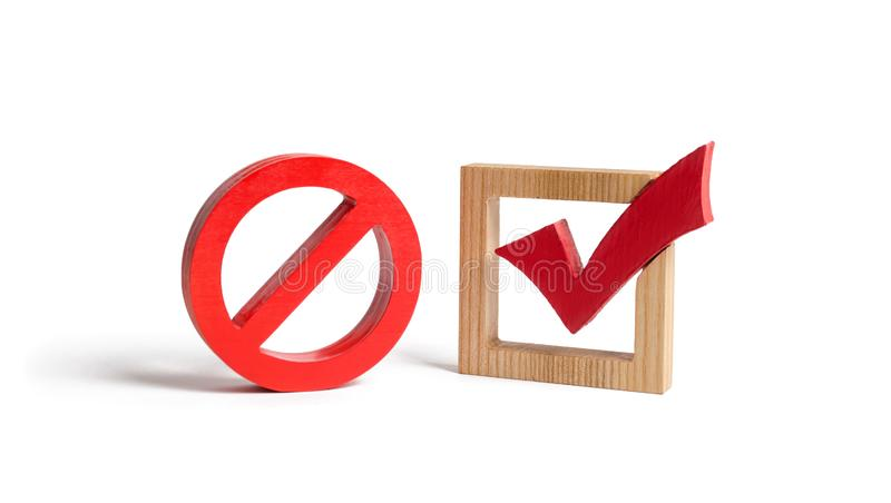 A red check mark and a NO symbol on an isolated background. lack of choice or election of the state. Restriction of rights. And freedoms. No option royalty free stock photos