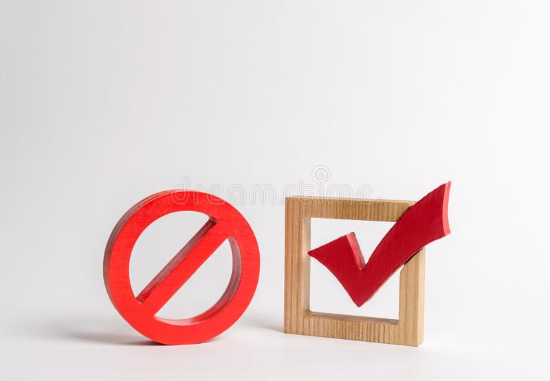 A red check mark and a NO symbol. lack of choice or election of the state. Restriction of rights and freedoms. No option. Unavailability. Laws on prohibition stock photo
