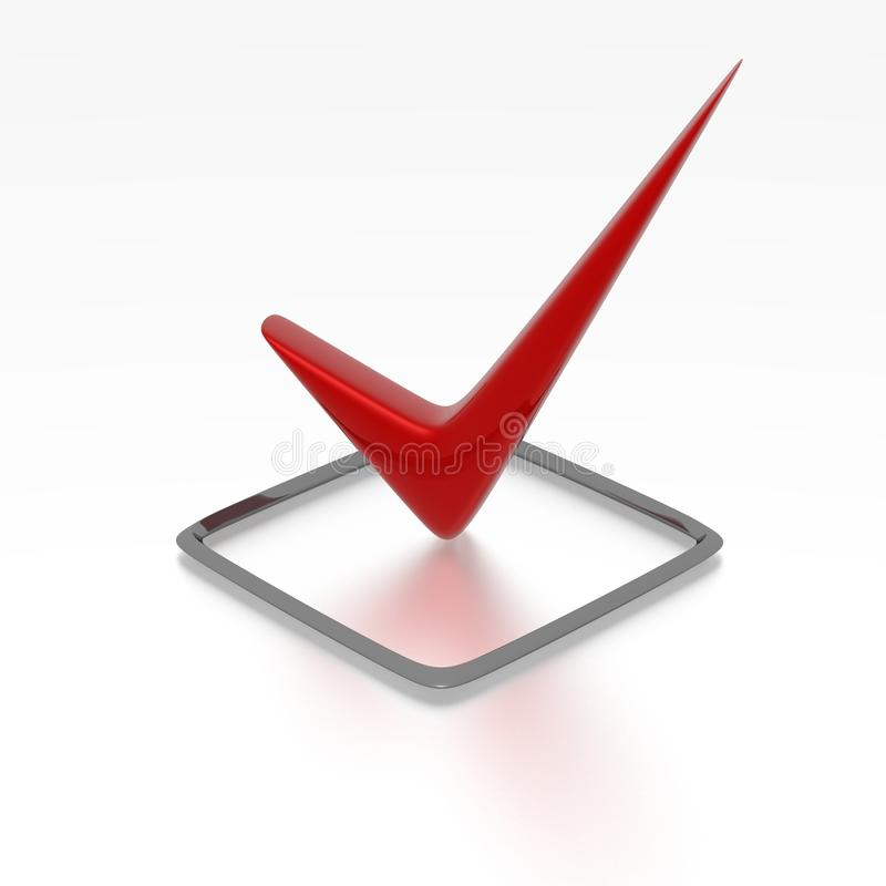 Red checkbox. Checkbox with red checkmark isolated on white stock illustration
