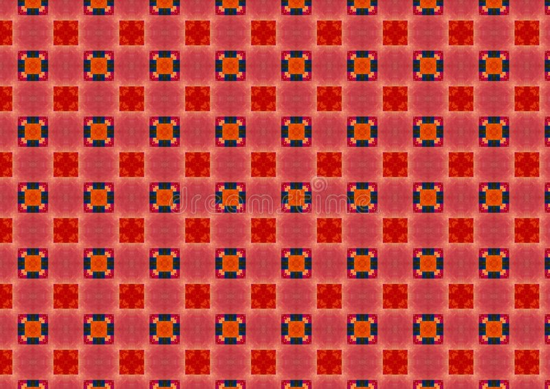 Red Checkered Circles Pattern. A tile background texture pattern in pink, red and blue squares stock photos