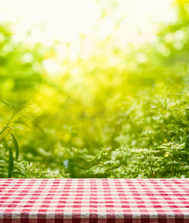 Red checkered tablecloth texture top view with abstract green garden stock photos