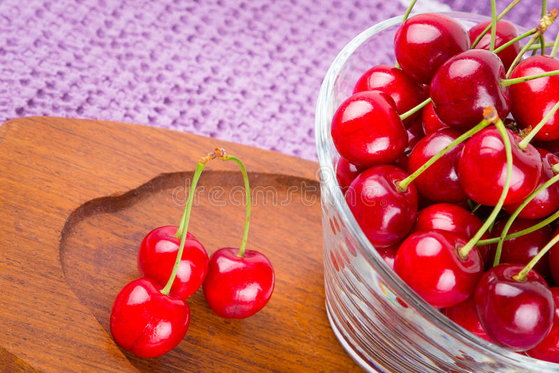 Red cherries in the bowl