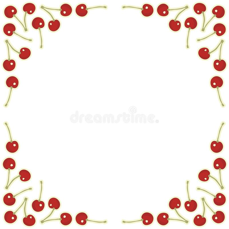 Red cherries square frame royalty free illustration