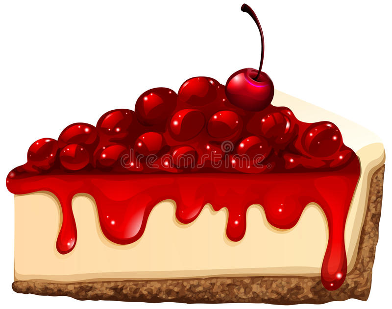 Red cherry cheese cake. Illustration stock illustration