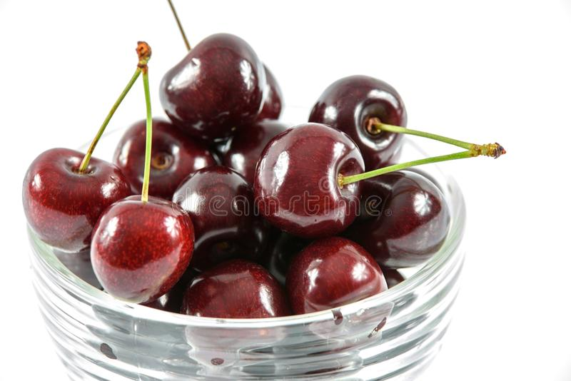 Red Cherry in Clear Glass Bowl stock photography