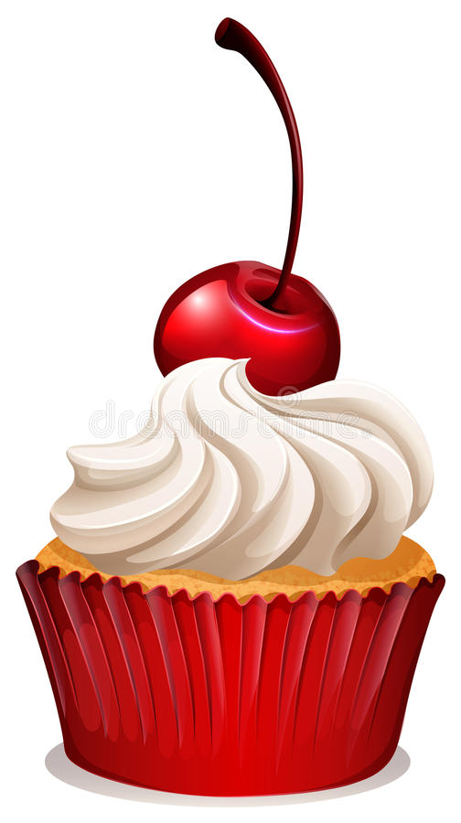 Red cherry cupcake on white. Illustration vector illustration