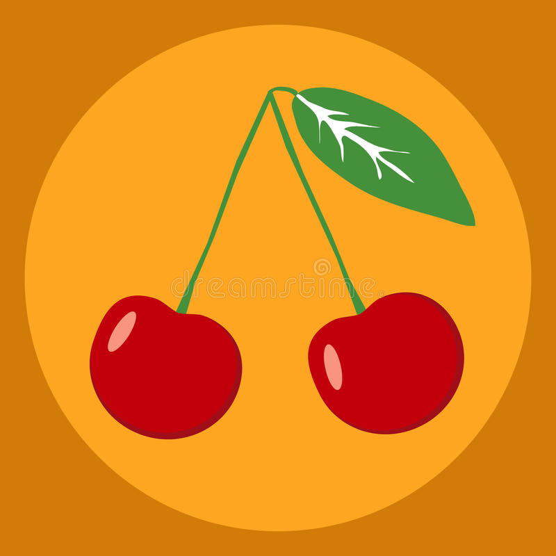 Red cherry. Flat design, vector illustration, vector stock illustration