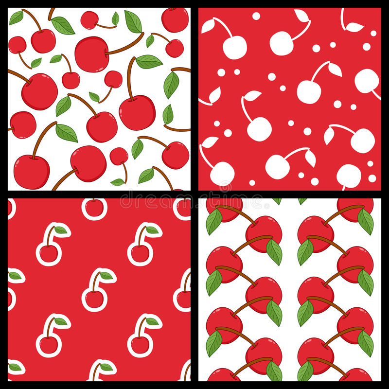 Download Red Cherry Fruit Seamless Patterns Set Stock Vector - Illustration of symbol, pattern: 42655180