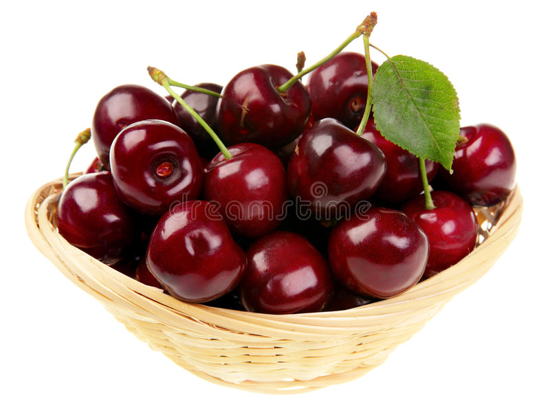 Red cherry and leaf stock photos