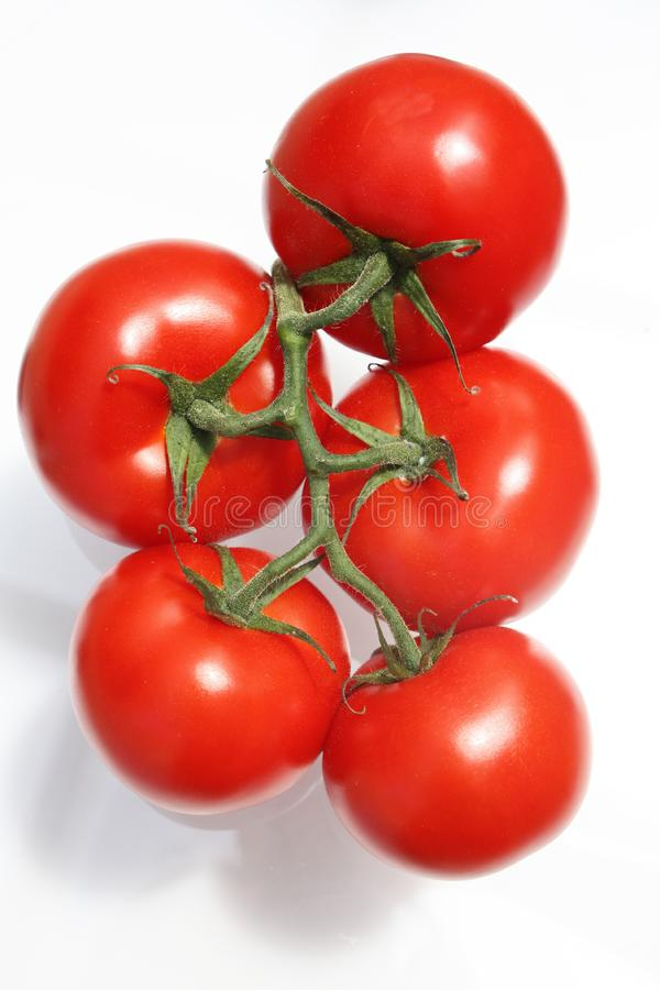 5 Red Cherry Tomatoes royalty free stock image