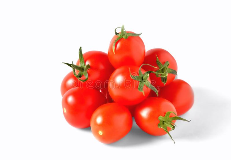 Red cherry tomatoes on white background, isolate, stock images