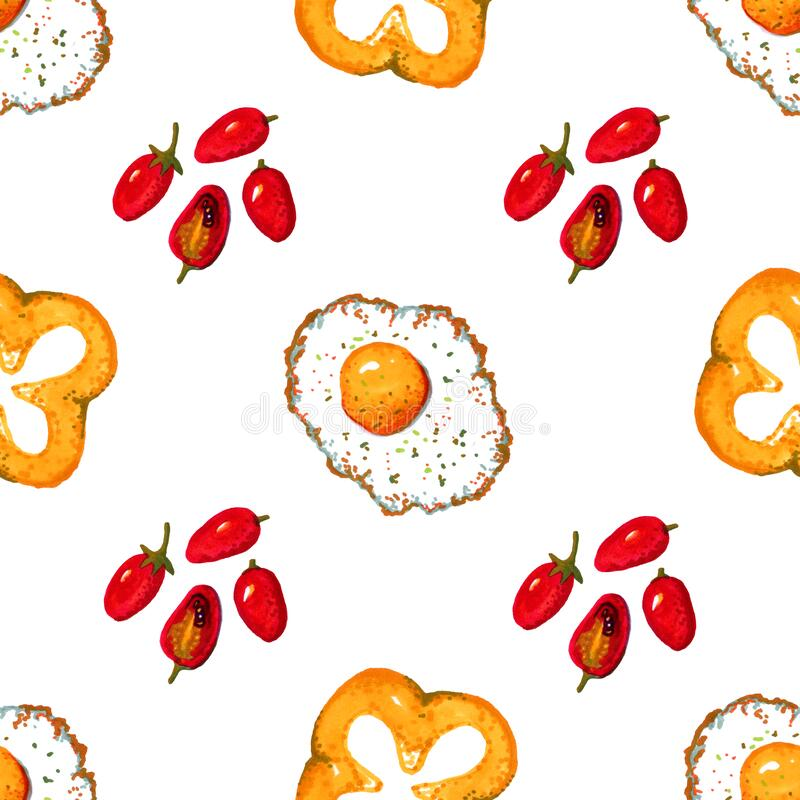 Red cherry tomatoes, yellow peppers and fried eggs. Hand-drawn seamless pattern. On a white background stock illustration