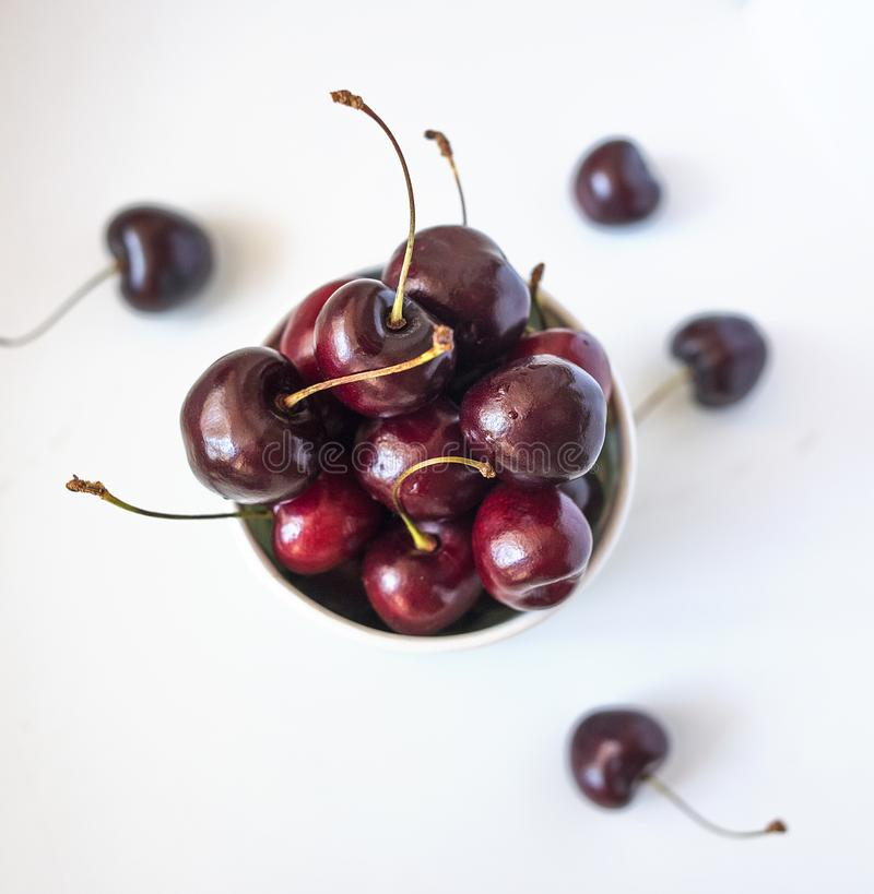 Red cherry on a white background stock images