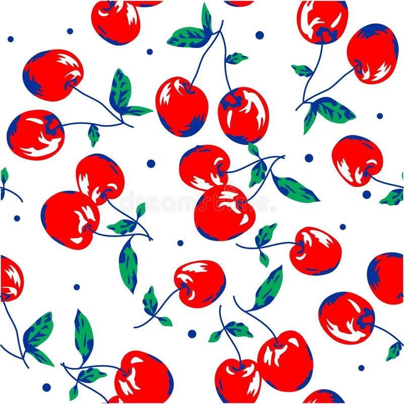 Red cherry on white background pattern seamless. For baby girl clothing print stock illustration