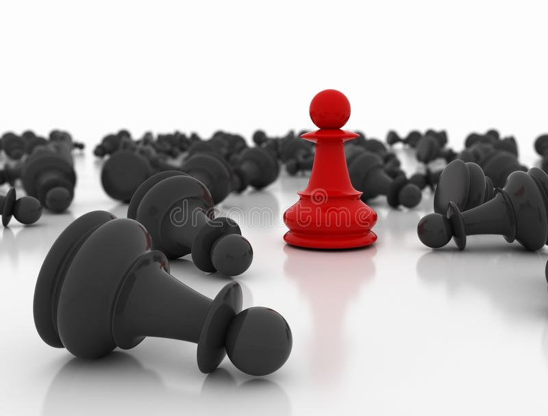 Red chess pawn standing royalty free stock photo