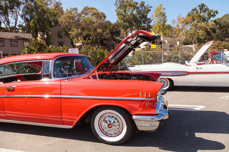 Red 1957 Chevrolet Bel Air. Laguna Beach, CA, USA - October 2, 2016: Red 1957 Chevrolet Bel Air 2 Door Hardtop owned by Len Yerkes and displayed at the Rotary stock images