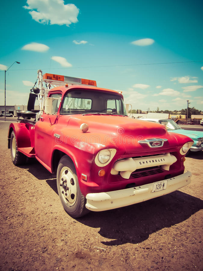 Red Chevy 120-N Tow Truck Vintage royalty free stock images