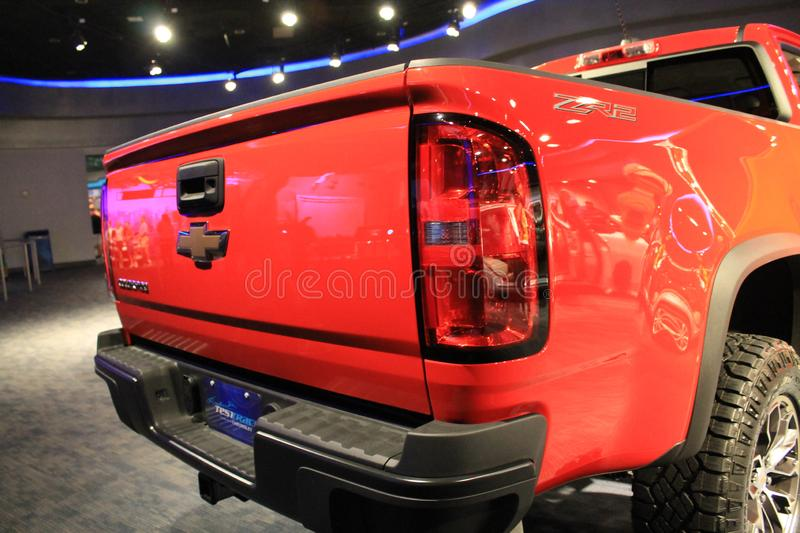 Red Chevy truck on display rear details stock images