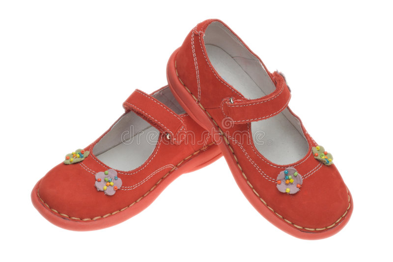 Red children shoes royalty free stock photo