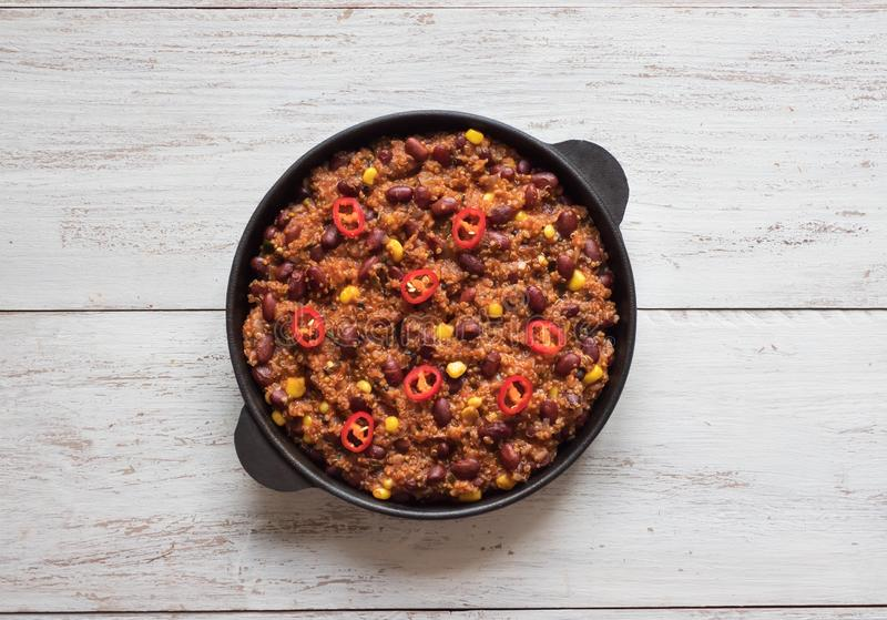 Red chili beans. Hot red chili in the pan. Top view stock images