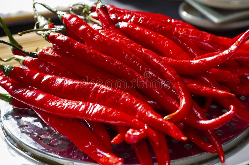 Red chili pepper on plate stock photo