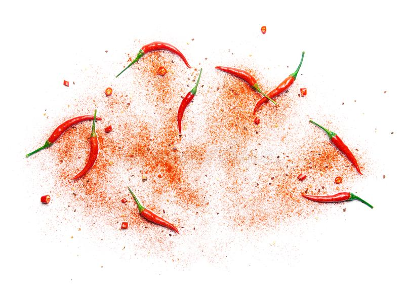 Red chili pepper and powder stock photos