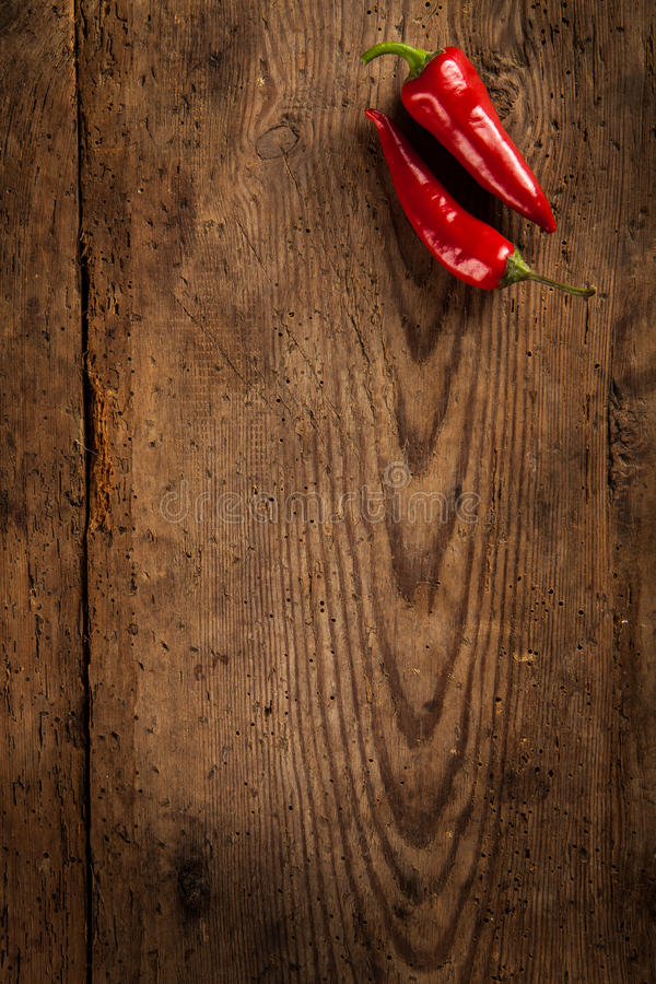 Red chili peppers. Two ripe red chili peppers on dark wooden background with copy space stock photography