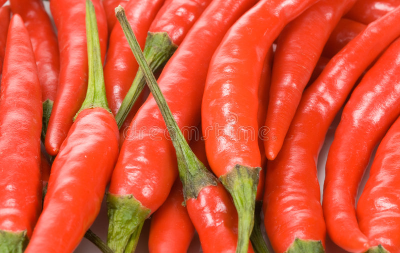 Red chili peppers. Close-up of fresh red chili peppers for backgrounds royalty free stock photos
