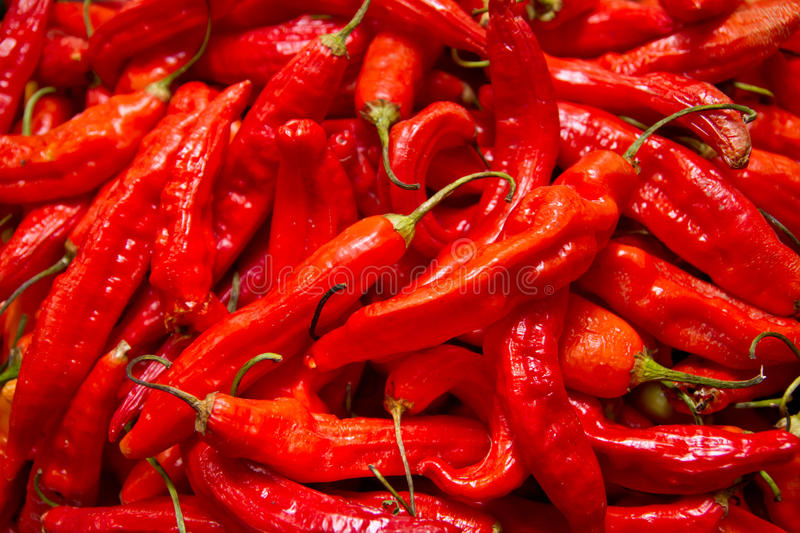 Red chili peppers, closeup view royalty free stock photo