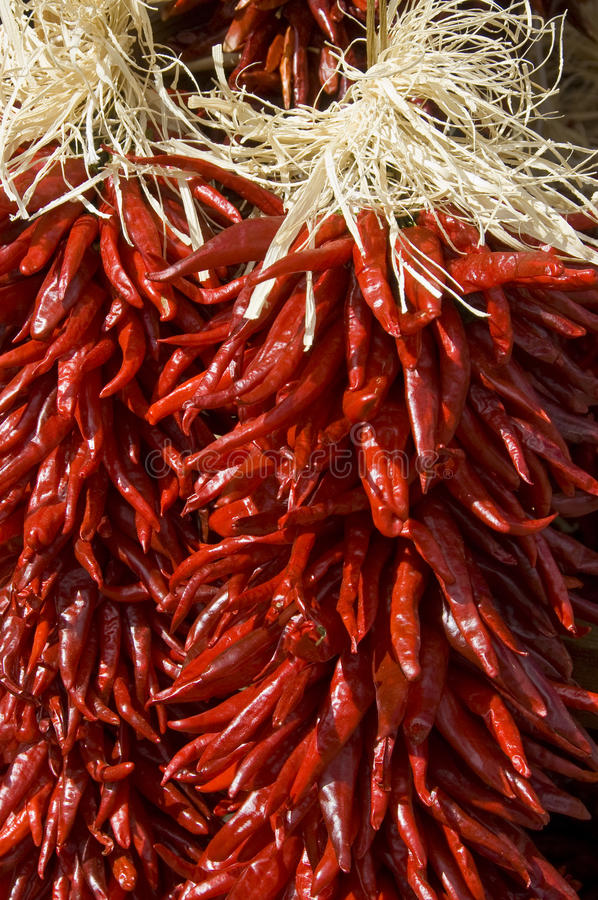 Free Red Chili Peppers Hanging. Close Up. Royalty Free Stock Image - 12492956