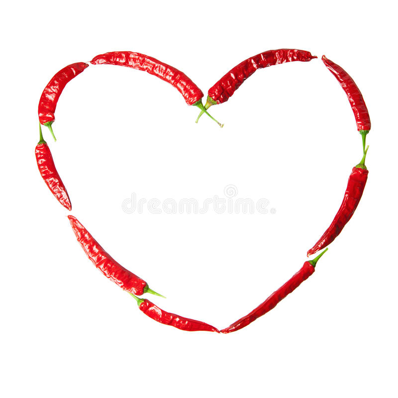 Red Chili Peppers Heart Stock Photo