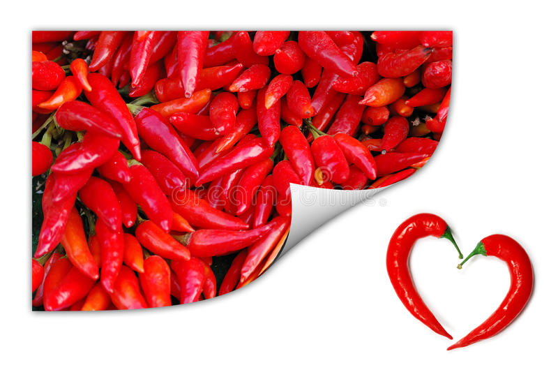 Download Red Chili Peppers With Two Peppers Forming A Heart Stock Image - Image: 13647711