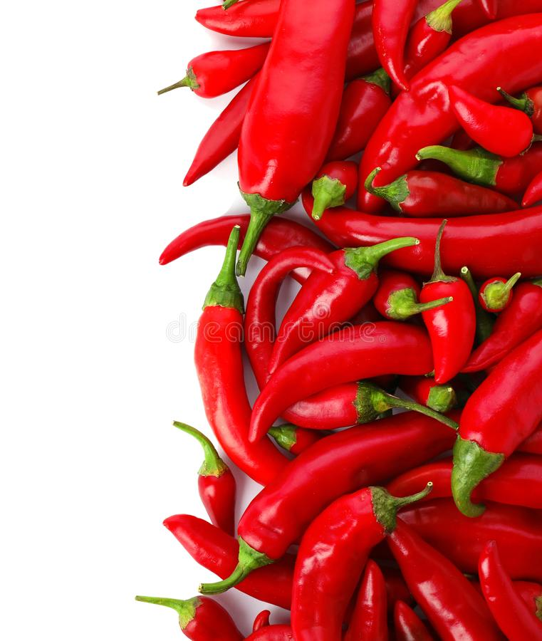 Red chili peppers on white background, top view stock images