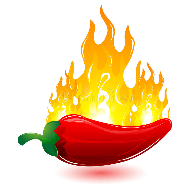 Red chilli with fire royalty free illustration