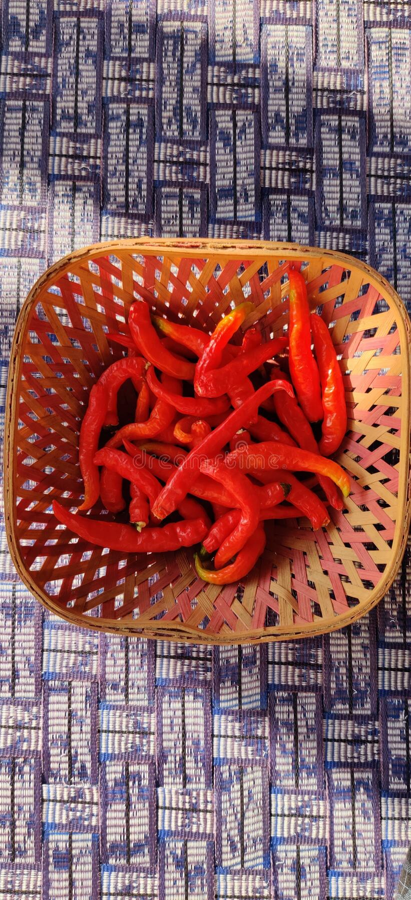 Red Chillies w drewnianej Bowl fotografia royalty free