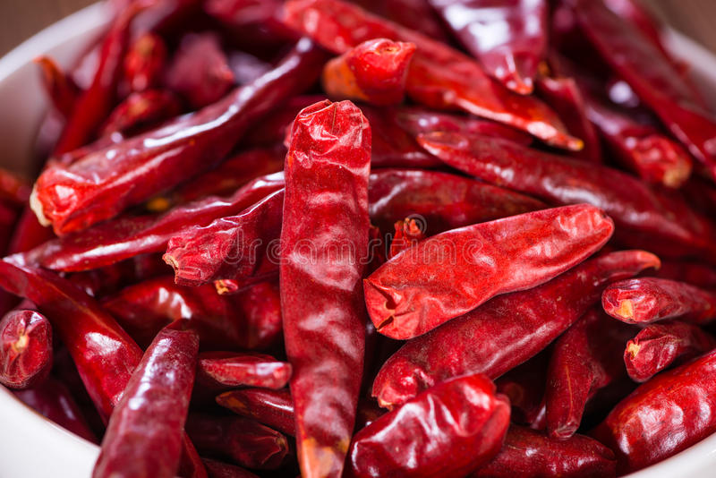 Red Chillis (dried, selective focus) royalty free stock photography