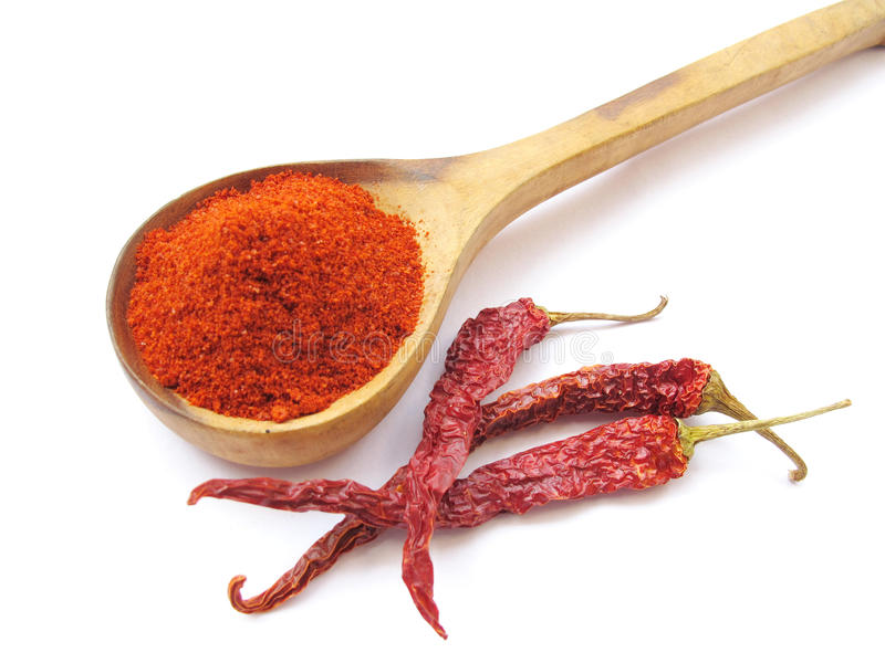Red Chilly. A spoonful of red chilly powder and whole dried red chillies isolated on white royalty free stock image