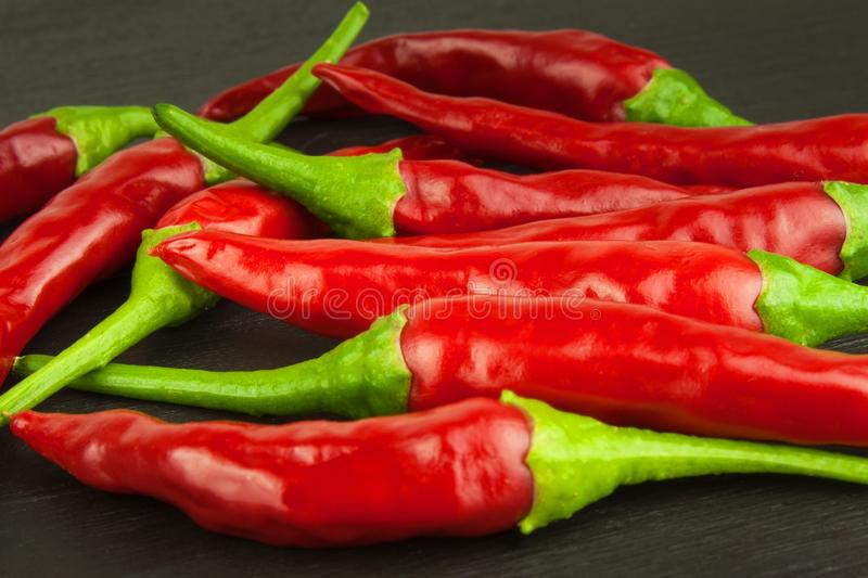 Red chilly pepper on wooden black background. Red hot chili peppers. Domestic cultivation extra hot chilli burn. Growing chili peppers. Spicy seasoning food royalty free stock images