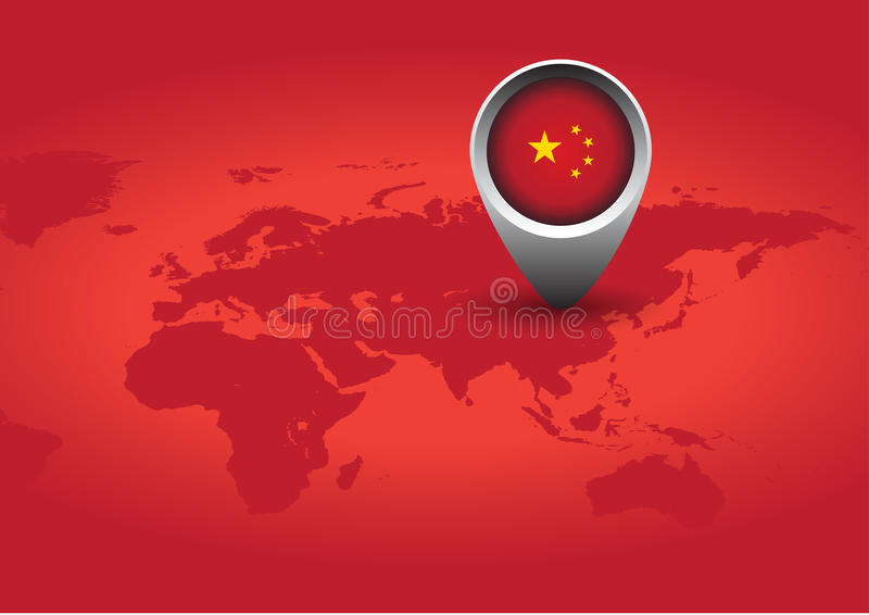 Red China flag stock illustration
