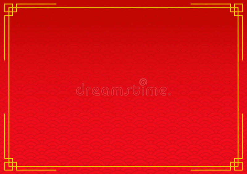 red chinese background with yellow gold border stock