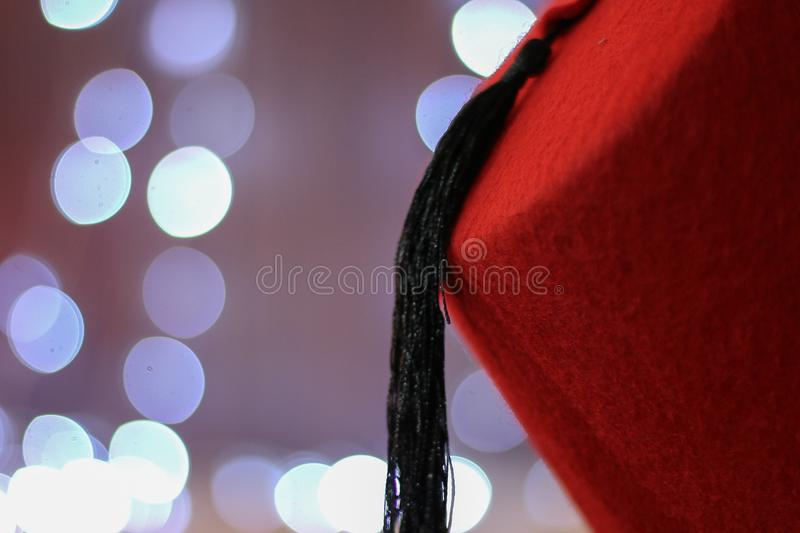 Red Chinese Cap With Black Tassel royalty free stock image