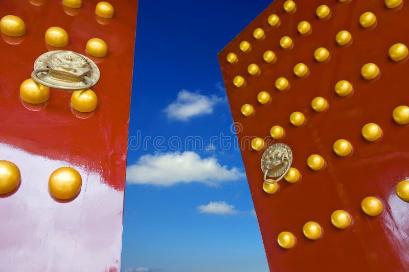 Red Chinese door stock photo