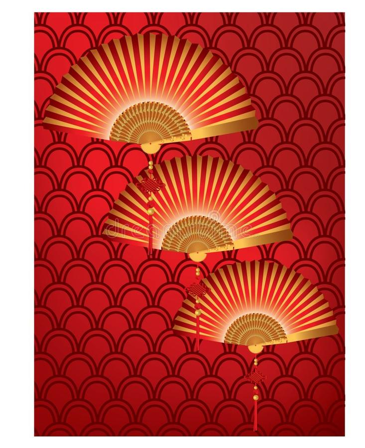 Red Chinese fan on a red pattern background. A group of red and gold Chinese fan on a red pattern background vector illustration