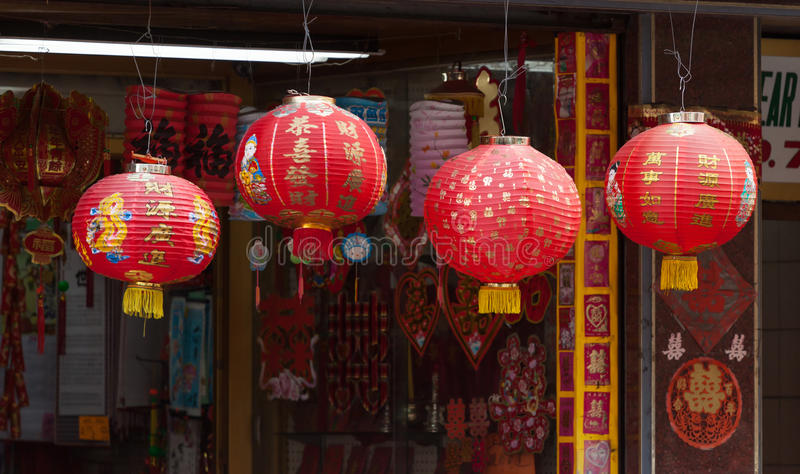 Red chinese lamp in Chinatown in New York royalty free stock photo