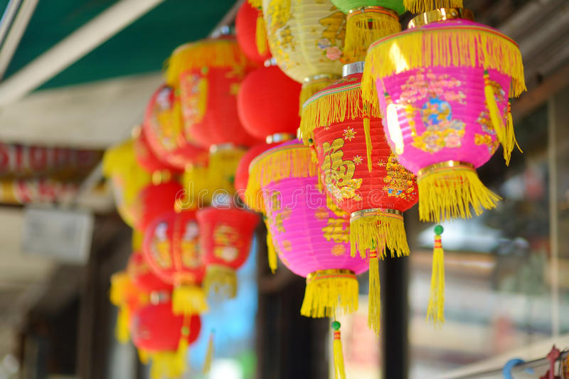 Red chinese lamps in Chinatown in New York royalty free stock image