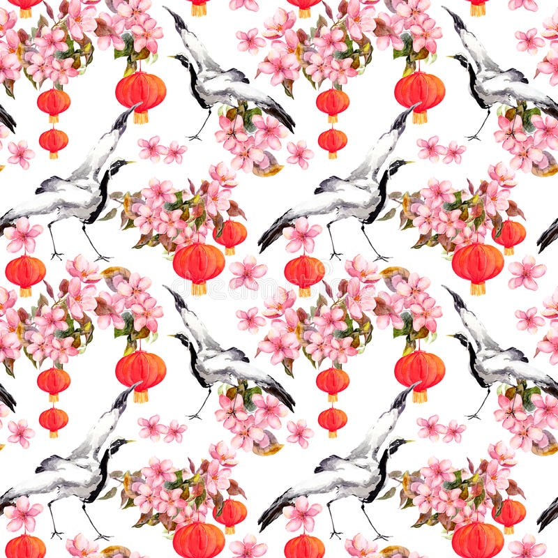 Red chinese lantern in spring pink flowers - apple, plum, cherry, sakura and dancing crane birds. Seamless pattern. Red chinese lantern in spring pink flowers royalty free illustration