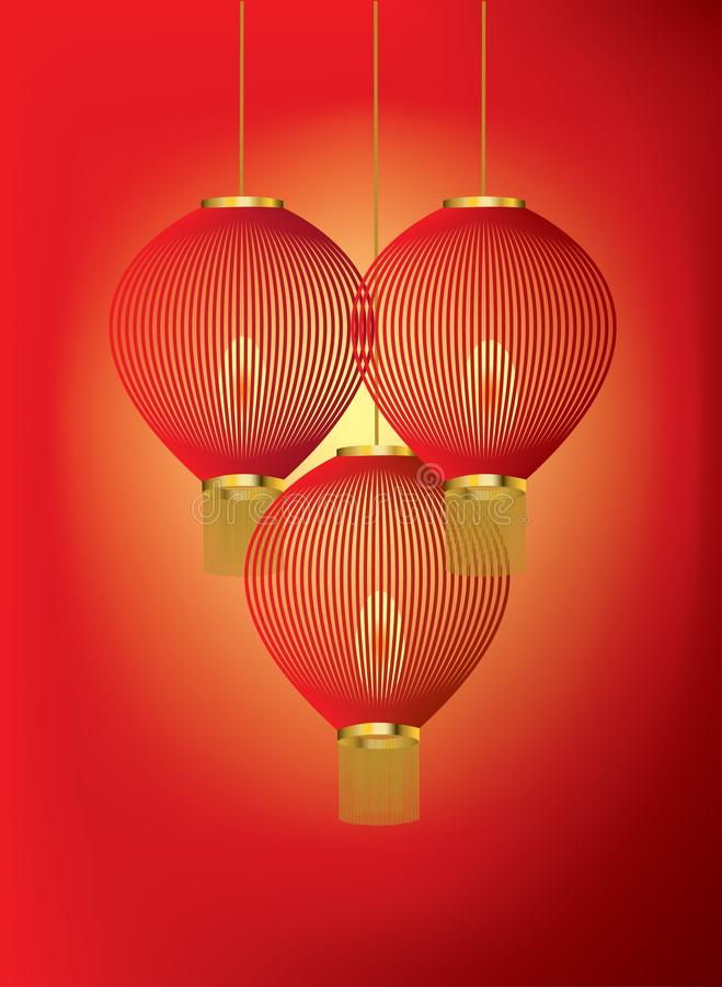 Red Chinese lanterns on red and orange background. A group of red Chinese lanterns on red and orange background stock illustration