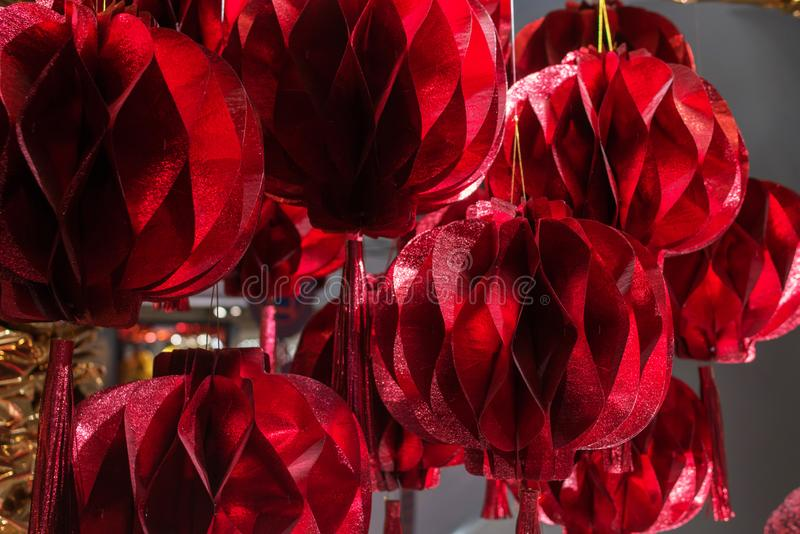 Red chinese paper lantern Decoration for Chinese new year royalty free stock image